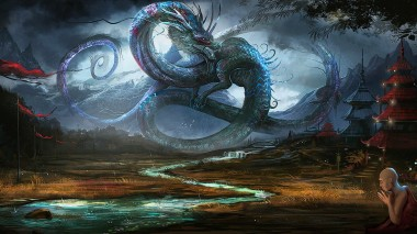 fantasy-art-dragon-scary-monk-river-grass-mantra-1920x1080